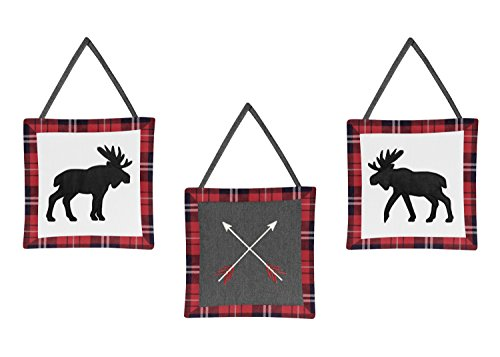 (Sweet Jojo Designs Grey, Black and Red Woodland Plaid Moose and Arrow Wall Hanging Decor for Rustic Patch Collection - Set of 3)