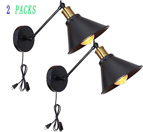 BRIGHTESS Industrial Wall Sconce Edison Vintage Style Wall Mount Set of 2 Packs E26 Base Plug in Wall Light Fixtures with Cord On/Off Switch for Bedside Reading Light