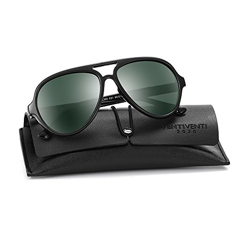 2020VentiVenti Classic Aviator Style Shiny Black Frame/Green Lens Oval 52mm Twin-Beams Polarized Plastic Sunglasses