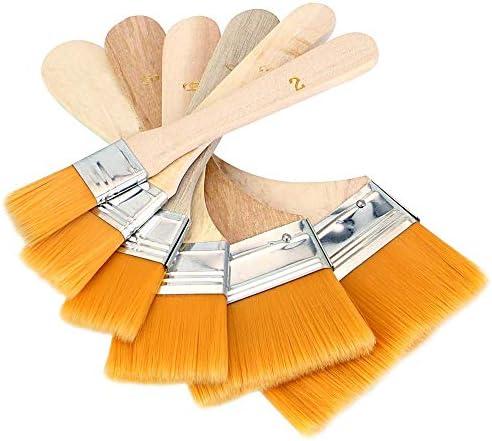 多用途刷毛 ペイント刷毛 木製家具の塗装済み 木柄 イエロー 6サイズセット