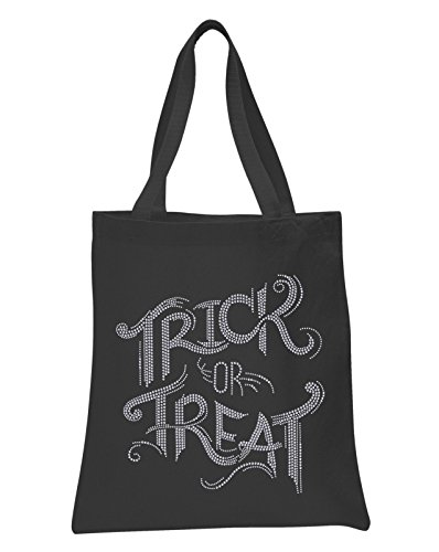 Black Trick or Treat Halloween Rhinestone Tote bag Trick or Treat Tote bag party gift sweet bag fancy dress ghost -