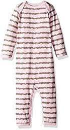 Coccoli Baby Girls\' Striped Jersey Knit Cotton/Modal Unionsuit, Slate/Pink, 9 Months
