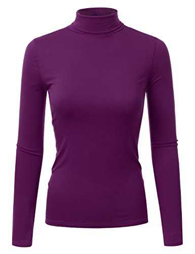 Doublju Soft Knit Turtleneck T-Shirt Top for Women with Plus Size Violet ()