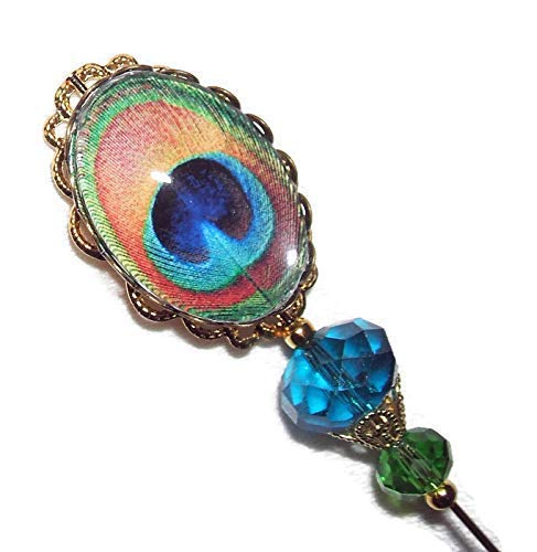 PEACOCK FEATHER EYE Stick Hat Pin GLASS Cabochon Long Hatpin Gold Pl Vintage Style CRYSTAL