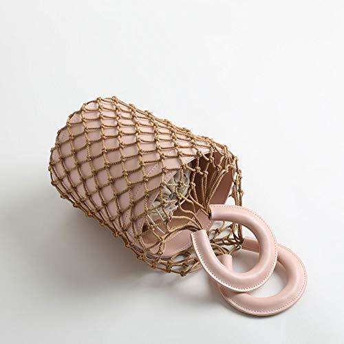 De Bolsos Pesca Las Gaoqq Red brown Pink Bolsa Mujeres Cubo Cuero H4qx5w
