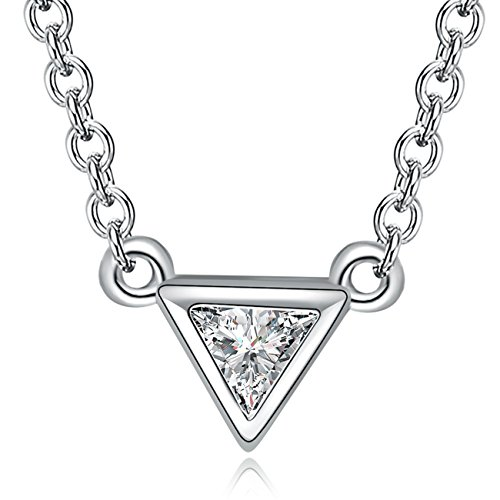 - YAN & LEI Sterling Silver CZ Geometric Inverted Triangle Cut Pendant Necklace Color Silver
