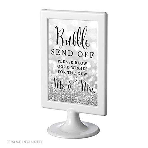 Andaz Press Framed Wedding Party Signs, Glitzy Silver Glitter, 4×6-inch, Bubble Send Off Please Blow Good Wishes for The New Mr. & Mrs. Sign, 1-Pack