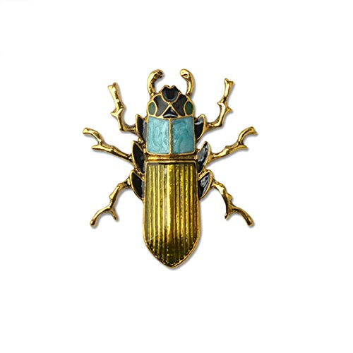 Insect Beetle Enamel Brooch Pin Women Jewelry Sweater Shawl Scarf Buckle (9k Brooch Yellow)