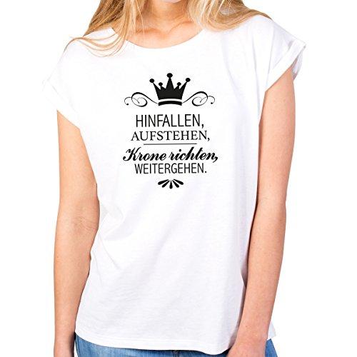 """JUNIWORDS Damen T-Shirt rolled up sleeves - """"Hinfallen, Aufstehen, Krone richten, weitergehen."""" - Wähle Größe & Farbe - Weiß"""