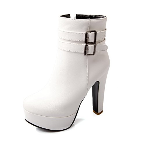 BalaMasa Womens High Heels Low Top Solid PU Snow Boots White