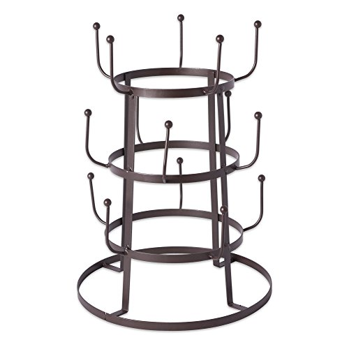 Home Traditions 3 Tier Countertop Or Pantry Vintage Metal Wire Tree Stand for Coffee Glasses, and Cups, 15 Mug Capacity, Rustic Bronze