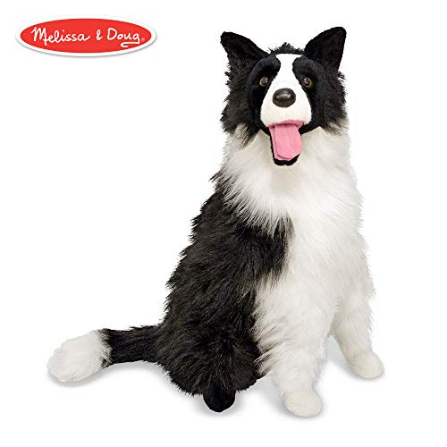 Melissa & Doug Border Collie Dog Giant Stuffed Animal (Lifelike Plush, 27