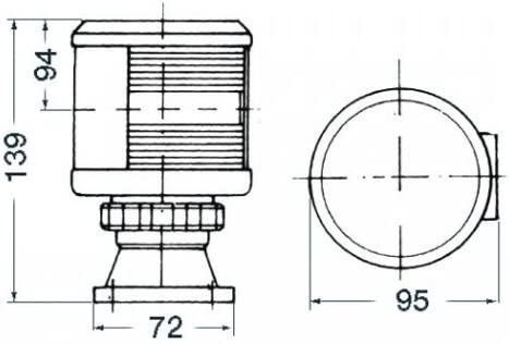 Fanale DHR rosso 25 W Osculati 11.420.01