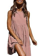 KIRUNDO Women's Summer Mini Dress Sleeveless Ruffle Sleeve Round Neck Solid Color Loose Fit Short Flowy Pleated Dress