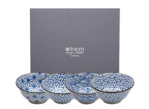 Tokyo Design Studio Kristal, 4 Schalen 15cm im Set, blau weiß teeblume