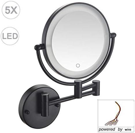 倍率、LEDライトアップ黒両面360度スイベル拡張可能バニティミラー、浴室用タッチスクリーンリトラクタブルメイクアップミラー付きメイクアップミラーウォールマウント,3X magnification
