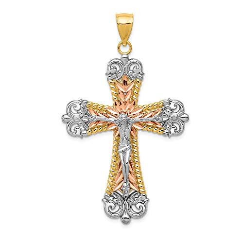 Jewelry Stores Network 14k Two-Tone Yellow and Rose Gold Fleur De Lis Crucifix Pendant - De Crucifix Pendant Fleur Lis