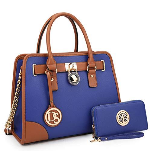 Royal Blue Tote Handbag - Multi Pockets Satchel for Women, Large Designer Lady Purses Laptop Tablet Tote Work Briefcase (6892W Royal Blue)