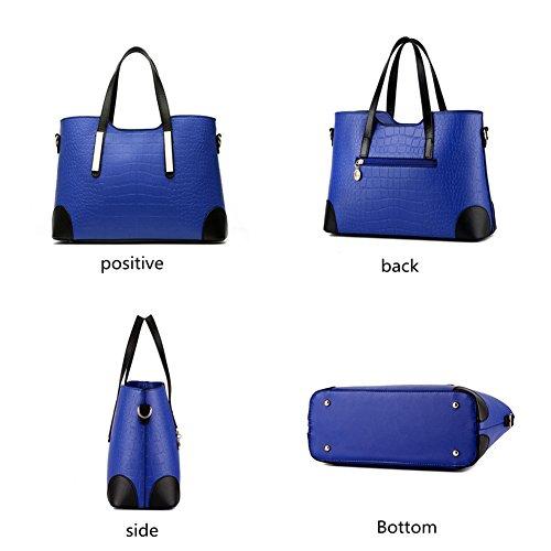 handbag leather satchel top tote handle purse Deep Blue PU Crocodile Pahajim women handbags O1UvBZwaW