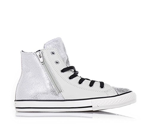 Star 655161c Leather Zip Side Converse Hi BLACK All BUFF SILVER RfXYqY5an