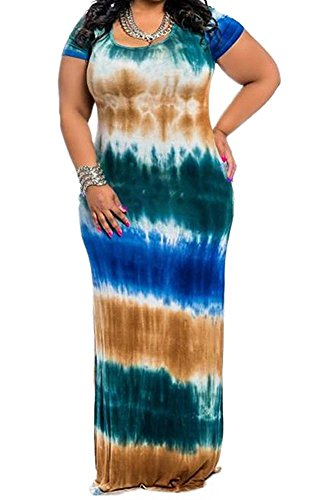- Women's Plus Size Color Block Tie Dye Stripes Boho Summer Beach Long Maxi Dresses Green XL