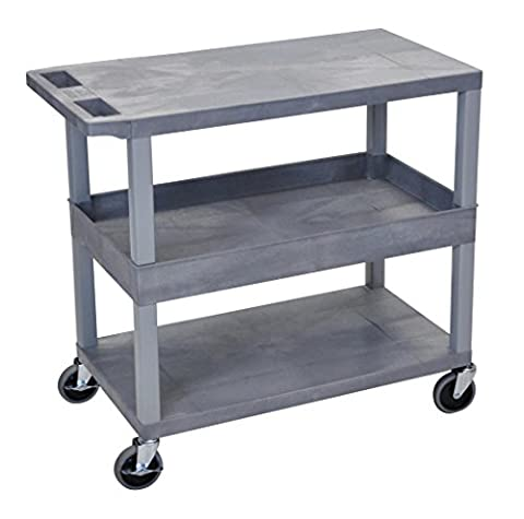 LUXOR EC212-G Cart 2 Flat/1 Tub Shelves, 18