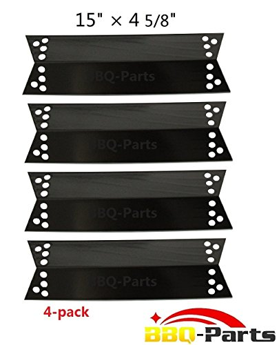 Hongso PPZ681 (4-pack) Porcelain Steel Heat Plates, Heat Shield, Heat Tent, Burner Cover, and Flavorizer Bar for Charbroil, Kenmore Sears, K-Mart, Nexgrill, Tera Gear Model Grills (15' x 4 5/8')