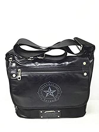 SKY BOW PU LEATHER BLACK MESSENGER BAG