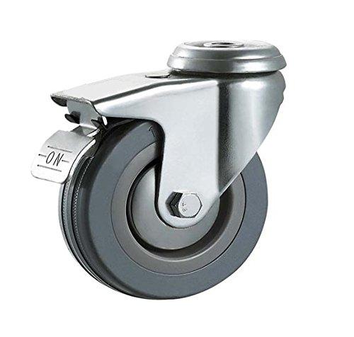 /Max 400/kg por Set /agujero montaje ruedas de alta resistencia ruedas por Bulldog ruedas/ 125/mm no marca gris de goma ruedas con frenos/ /todos los 4/ruedas con frenos/