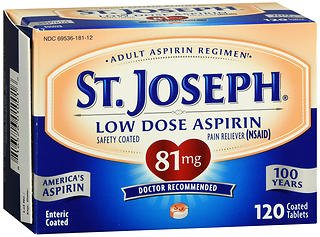 St. Joseph Low Dose Aspirin 81 mg Micro Tablets - 120 ct, Pack of 4 by St. Joseph