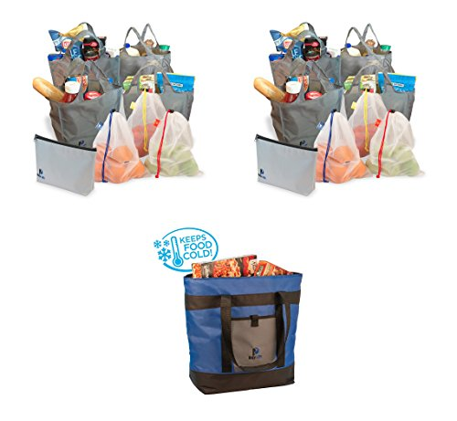 Reusable Grocery Bag Package - Busy Life Shopping Bag Set(2) and Thermal Bag Make a Great Combo for Bringing Home Groceries Including Freezer Items in an Eco-Friendly Way. (3 Units)