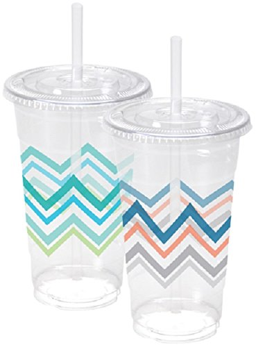 Nicole Home Collection 07823 10 Count Chevron Ice Coffee Cups with Lids and Straws, 24 oz, Multicolor