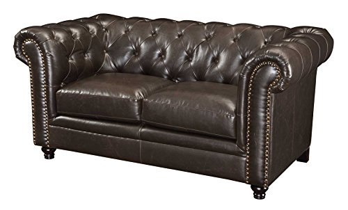 Roy Button-Tufted Loveseat with Rolled Back and Arms Brown (Chesterfield Sofa Dark Brown)