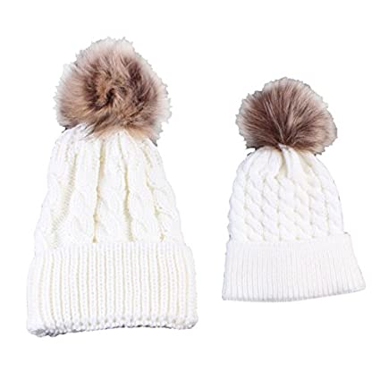 03848944245 Amazon.com   2Pcs Cute Mother and Baby Parent-child Hats Toddler Kids Boys  Girls Knitted Crochet Beanie Winter Warm.   Everything Else