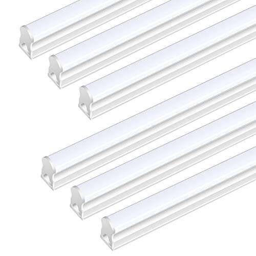 (Pack Of 6) DIKAIDA T5 Led Integrated Single Fixture, 4FT, 2000lm, 6500K(Super Bright White), 20W, Led Shop Lights with built-in On/Off Switch for Garage, Storage Area, Basement, Under Cabinet, Office ()