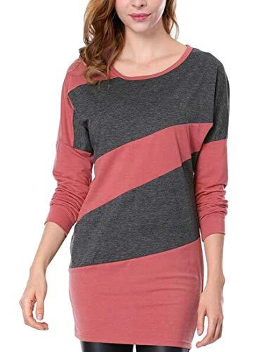 Casual Long Knits Crew Neck Dresses Colors Contrast Mini Red Womens Cromoncent Sleeve 5I7tnwxSwq