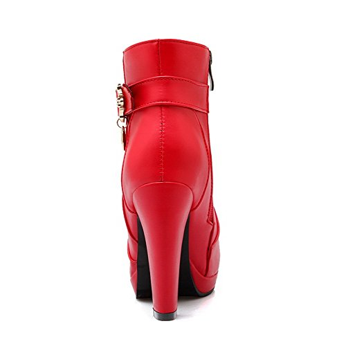 AllhqFashion Mujeres Sólido Tacón Alto Puntera Redonda Pu Cremallera Botas con Hebilla Rojo