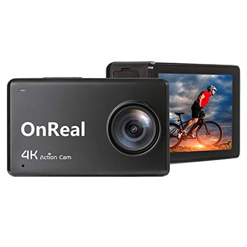 OnReal B1 4K Action Camera WiFi Ultra HD IPS Touch Screen 30M Underwater Waterproof Sport Cam with Remote Control Watch, 2 Batteries and Mounting Accessories Kits