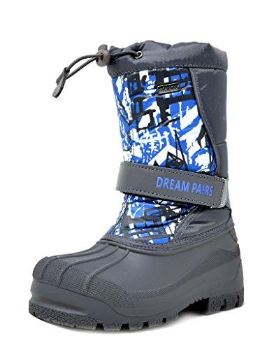 Boots Navy Winter (DREAM PAIRS Big Kid Kamick Navy Mid Calf Waterproof Winter Snow Boots Size 5 M US Big Kid)