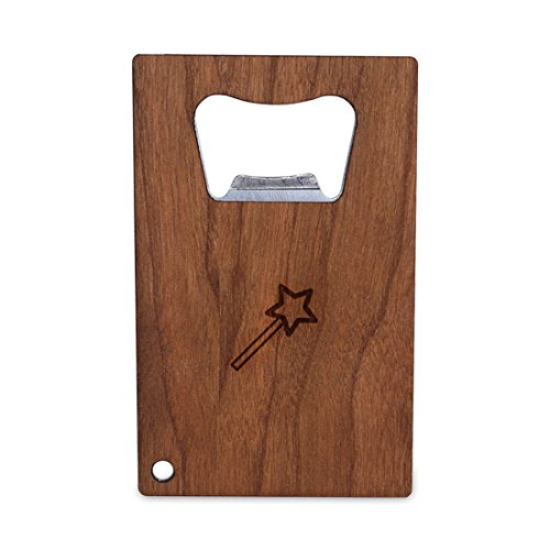 Magic Wand Bottle Opener With Wood, Stainless Steel Credit Card Size, Bottle Opener For Your Wallet, Credit Card Size Bottle Opener](Magic Wand Bottle Opener)