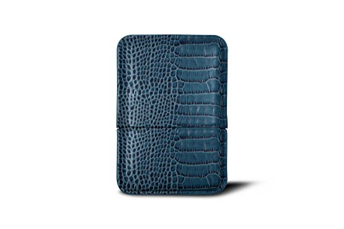 Lucrin - Slot-in business cards holder - Blue Topaz - Crocodile style calfskin