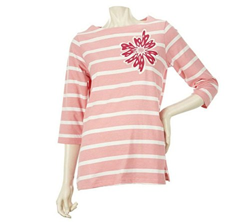 Bob Mackie Floral Applique Jewel Neck Striped Top 3/4 Slv Coral S New A221788