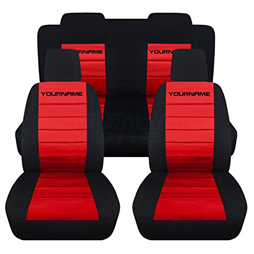 Totally Covers Fits 2005-2010 Ford Mustang 2-Tone Seat Covers with Your Name/Text: Black & Red - Full Set (22 Colors) Coupe/Convertible V6/GT Solid/Split Bench 50/50 5th Gen 2006 2007 2008 2009