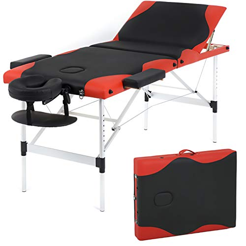 Massage Table Massage Bed Spa Bed 84 Inch Height Adjustable 3 Fold Aluminium Massage Table W/Face Cradle Carry Case Portable Facial Salon Tattoo Bed