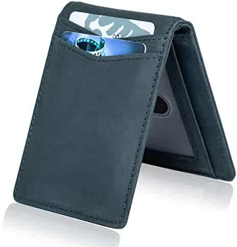 NERO Leather Wallet Card Holder Minimalist Wallet Compact Slim RFID Blocking Clothing, Shoes & Accessories