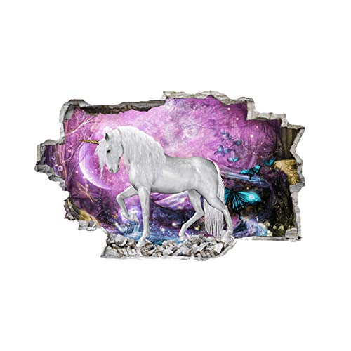 Unicoco 3D Unicorn Wall Stickers Wall Decorative Removable 4674cm DIY 3D Look Unicorn Wall Decals