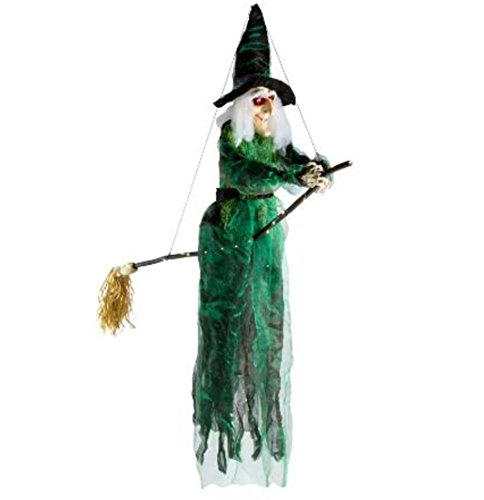 Life-Size Flying Halloween Witch with Lighted Eyes and Broomstick