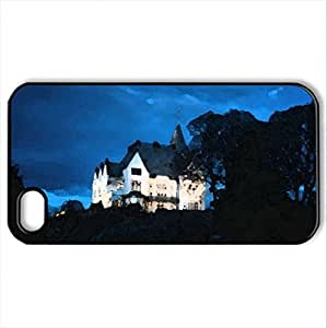 wonderful mysterious mansion hdr - Case Cover for iPhone 4 and 4s (Houses Series, Watercolor style, Black)