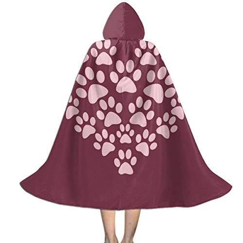 Halloween Costumes Heart Paw Print Hooded Witch Wizard Cloak for Kids S