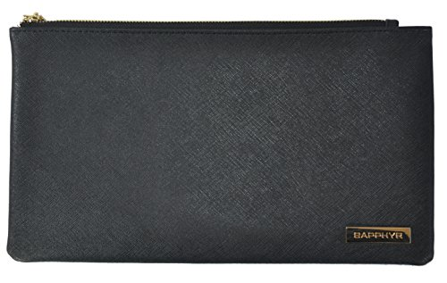 Leatherette Zipper Wallet - Saffiano Bank Bag by Sapphyr | For Cashiers, Checks and Currency | Luxury Real Leather Case with Pen Loop